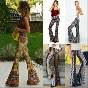 Women Capris Boho Hippie High Waist Loose Wide Leg Flared Bell Bottom Flroal Long Pants Drop