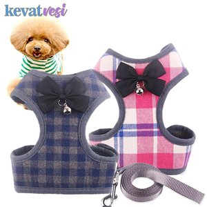 Dog Collars & Leashes Pet Cat Leash Rope Breathable Mesh Vest Harness With Bowknot Bells Chihuahua Yorkies For Small Dogs