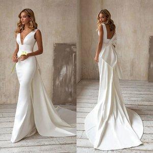 Elegant Satin V Neck Mermaid Wedding Dresses Bridal Gowns With Detachable Train Bow Back 2021 Arabic Custom Made robe de mariee