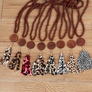 8 styles Wooden Necklace with Leopard Cloth Tassels DIY Wood Clip Wood Bead Pandent Decorate Fashion LLA664