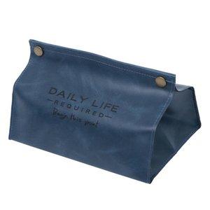 2Pcs Creative PU Leather Tissue Box Vehicle-mounted Personalized Multifunction Cover Napkin Holder (Blue) Storage Bags