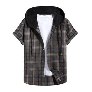 # 31 Camisa a cuadros de los hombres Moda de impresión de la manga corta Pullover Top Blusa con capucha Camisetas Milancel Camisas Casual