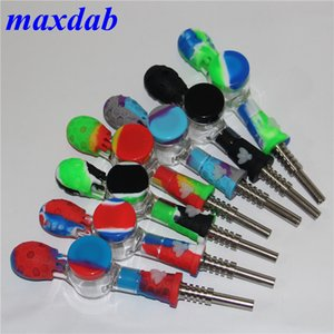 silicone Glass hand Pipe smoking accessories Bong Spoon Pipes Food-grade nectar collector with titanium nail dabber tool