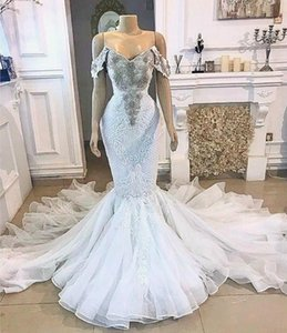 2021 Plus Size Arabic Aso Ebi Luxurious Lace Crystals Wedding Dresses Mermaid Sexy Bridal Dresses Vintage Tulle Wedding Gowns