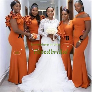 Burnt Orange Mermaid Bridesmaid Dresses Long Black Girl Bridesmaid Dress Ruffles Elastic Satin Wedding Party Gowns