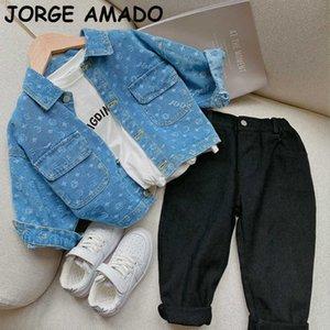Outono meninos meninas jaquetas baby casacos azul denim longa manga casual crianças para roupas E2151 210610
