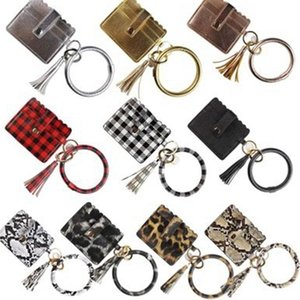 PU Bangle Bag Wallet Keychain Wristlet Keyring Leopard handbag Leather Bracelet Credit Card Holder With Tassel EEA1665 OFCT