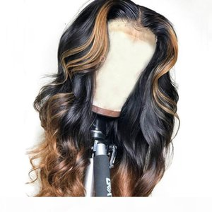 shows shine Brazilian Loose Deep Lace Front Human Hair Wigs PrePlucked 13*4 Honey Blonde Remy Ombre Color Glueless Wig With Highlight
