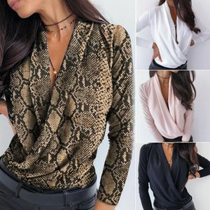 Fashion Snakeskin Print Blouse Womens Deep V Long Sleeve Top Casual Solid Color Shirt Tops Female S-XL Women's Blouses & Shirts