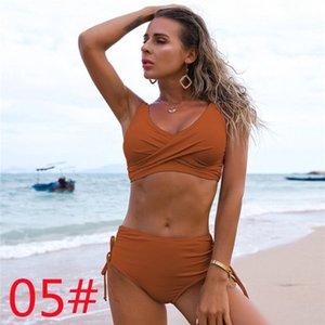 2021 One-Piece Suits Amazon swimsuit European and American bikini female sexy high waist pure color Beach equipment 27