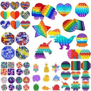 Tiktok Dhl Rainbow Push Pop It Fidget Toy Sensory Push Bubble Fidget Sensory Autism Especial Necessidades Ansiedade Stress Reliever para Trabalhadores de Escritórios Fluorescen