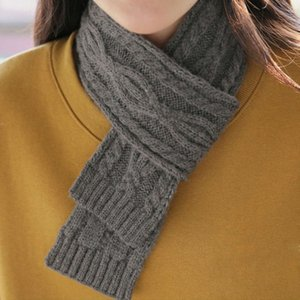 Autumn winter Korean Short pure color knitted chic style versatile twist wool small scarf men's and women's warm neck
