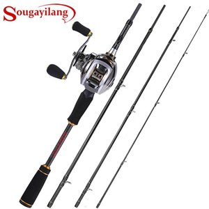 Sougayilang Casting Fishing Rod Reel Combo 1.8M-2.4M 24 Ton Carbon Fiber With 11+1BB 6.3:1 Baitcasting Pesca