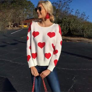 Women Casual Heart Printed Hollow Out Sweater Long Sleeve O neck Knitted Pullovers Autumn Winter New Fashion Trendy Loose 210412