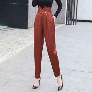 Women Anti-wrinkle Satin Harem Pants Ankle Length Trousers Fashion 2020 New Autumn Spring Solid Female Cropped Feet Pleated Pant