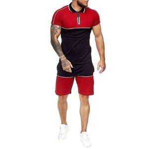 Hombre de verano 2020 Hombres de impresión de moda + Pantalones cortos 2 PCS Trajes de manga corta Camisas de manga corta Casual Ropa masculina Conjuntos Chándal # G3