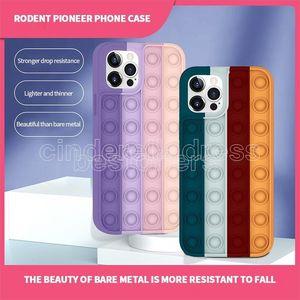 Barco rápido ! POP Fidget Riviver Toys Toys Funda de arco iris para teléfono 12 11 Pro Max 7 8 Plus Push Bubble Fidget Toys Toys