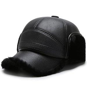 Sombra de Sombra [Northwood] 2020 PU Black PU Cuero Hateros de invierno Snapback Earflaps Gorra de béisbol para hombres al aire libre más terciopelo espesando para hombre gorras