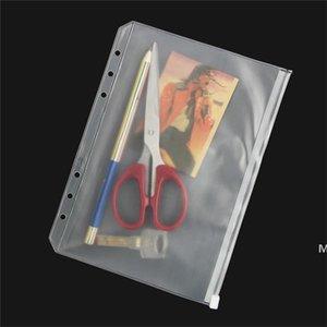 بسيطة a5 / a6 / a7 شفافة pvc حقيبة للماء البلاستيك تخزين الزي سستة ملف مجلد المفكرة جيب وثيقة 6 ثقوب اللوازم المدرسية DHC7150