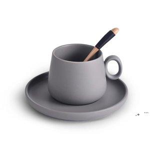 Caneca de café elegante da cor do cappuccino da cor do macaron com a bandeja da colher de madeira da colher de madeira Café Tea Nespresso Taza Gato Koffie Beker FWE6162