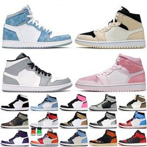 Jumpman 1 Shoes 1s Dark Mocha Chicago White Toe University Blue Light Smoke Grey UNC Twist Digital Pink Hyper Royal Shadow Black Beetroot Sports Sneakers
