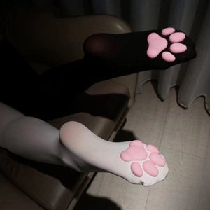 Socks & Hosiery Women Long Cat Pad Cotton Stocking Toe Beanies Girls Pawpads Footprint Over Knee Thigh Cute Cosplay 2021