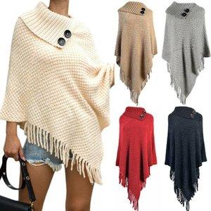 Women Cape Tassel Shawl Long Stretch Knitted Collar Jumper Top Poncho Cardigan