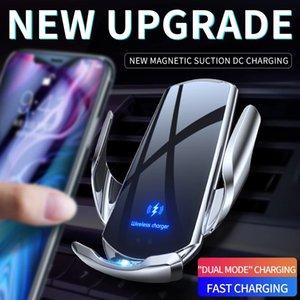 أحدث التلقائي 15 واط تشى شاحن سيارة لاسلكية لآيفون 12 11 xs xr x 8 سامسونج s20 s10 xiaomi cellhones المغناطيسي usb الأشعة تحت الحمراء استشعار الهاتف حامل جبل