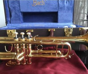 Bach Gold Lacquer LT180S-72 B Flat Professional Trumpet Bell Top Musical Instruments+Blue Case