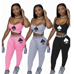 Women Two Piece Outfits Solid Color Peach Heart Printed Sleeveless Suspender Tops Long Trousers Ladies New Casual Tracksuits 2021
