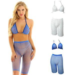 Women's Swimwear Women Sexy Rhinestone High Waist Bikini Fishnet Bra Shorts Push Up Swimsuit Beachwear Set Bathing Suits Biquini