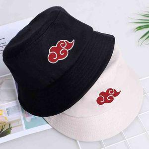 Red Cloud Printed Summer Women Men Panama Bucket Cap The Design Flat Visor Fisherman Akatsuki Anime Sun Hat