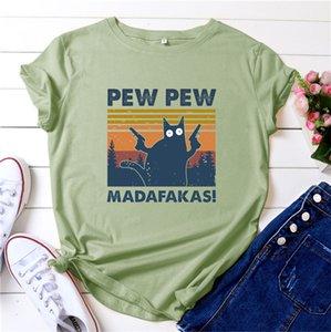 PEW PEW MADAFAKAS PRINT TSHIRT женщин с коротким рукавом Хэллоуин жестокий черный кот с пистолетом Смешные свободные шеи экипажа Harajuku Top