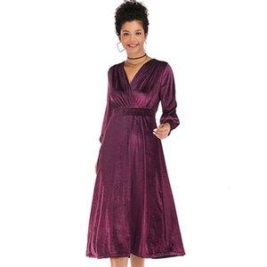 Два куска платье осенью и зима давно SVE сплошной крест V-образным вырезом бархат для женщин