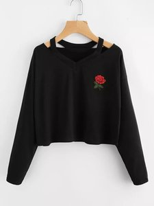 Womens Top Long Sleeve Sweatshirt Rose Print Causal Style Tops Blouse with 7 Colors Asian Size S-XL