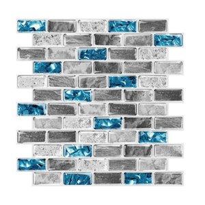 Vivid Tiles Blue Peel And Stick 3D Brick Effect Waterproof Kitchen Backsplash Decor Self Adhesive Wallpaper Wall Stickers