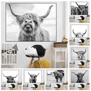 Black White Highl Cow Cattle Canvas Art Nordic Painting Poster Print Scandinavian Wall Picture for Living Room