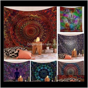 Décor Garden Drop Delivery 2021 Indian Hippie Bohemian Mandala Tapestries Psychedelic Peacock Printing Wall Hanging Bedroom Living Room Dorm