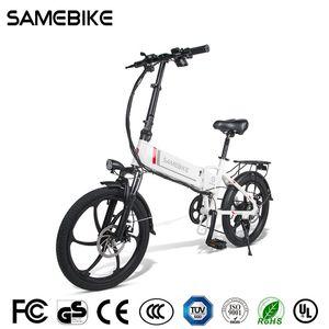Stock de l'entrepôt de l'UE! Samebike 20LVXD30-II Vélo électrique pliant 32km / h Smart Bicycle 48V 10.4Ah Batterie 20 pouces TIRE EBIKE Aucun impôt mis à jour VE