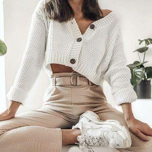 Men's and women's clothingCropped Chic Women Spring Sweater Fall New 2020 Knitwear Short Cardigan Girl Long Sleeve Twist Crochet Top Pull Femme 1I3E