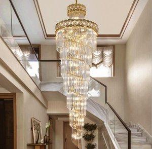 الحديث كريستال الثريا ل staicase طويل فيلا سلسلة الإضاءة تركيبات كبيرة ديكور المنزل الذهب الفولاذ المقاوم للصدأ كريستال مصباح
