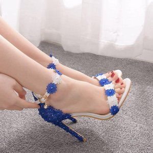 Crystal Queen Women Sandals White and blue Lace Fine High Heels Slender Bridal Pumps Wedding Shoes Peep Toes Buckle Strap 210331