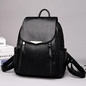 Women's Backpack Leather Large Capacity School Double Zipper Shoulder Bag Casual