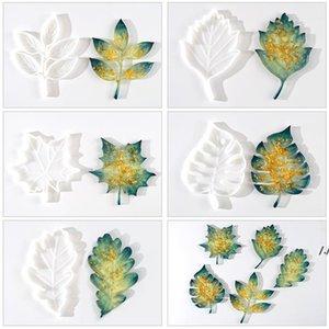 Newest DIY manual leaf coaster mold Christmas series crystal drop mold silicone resin maple leaf Craft Tools AHA4884
