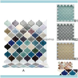 Wall Décor & Gardenwall Stickers Home Decor 3D Tv Background Self-Adhesive Sticker Waterproof Retro Diamond Drop Delivery 2021 4Isjw