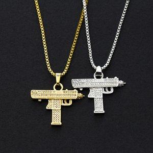 Uzi Zirconium Diamond Pendant Necklace Hip-Hop Personality Submachine Accessories Creative Jewelry Gift