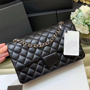 Women Bag Top quality Sheepskin Handbag Luxury Designers 2021 Fashion Classic 25cm black Genuine Leather Tote Flap Lady Shoulder purse gold and silver chain with box
