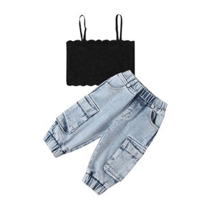 Baby Outfits Girls Sets Infant Suits Clothing Summer Lace Tank Tops Jeans Trousers 2Pcs Toddler Clothes Kids Wear 0-24M B4628