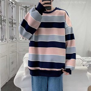 Men's T-Shirts Autumn Hoodie Fashion Contrast Color Casual O-neck Sweatshirt Men Streetwear Loose Hip-hop Pullover Hoodies Mens M-
