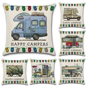 Happy Campers Touring Car Pillowcase Throw Linen Pillow Case Sofa Cushion Cover 45*45CM Home Cafe Office Decor Gift for Housewarming Party